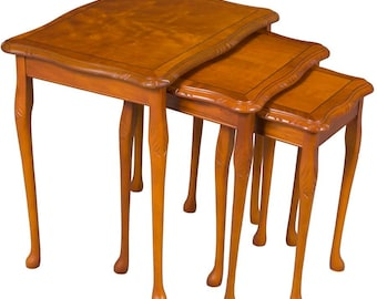 Set of Three Yew Wood Nesting Tables