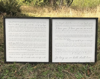 """Set of 2 20""""x20"""" Wedding Vow Signs"""