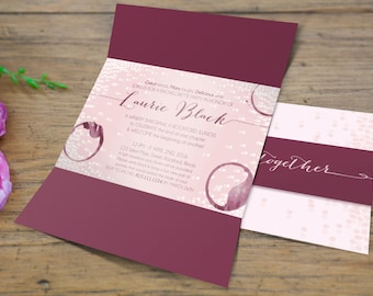 Sets of 10 Grape di Vino Winery Bachelorette Party Gatefold Invitation