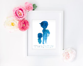 8x10 Boss Baby Watercolor Quote Print
