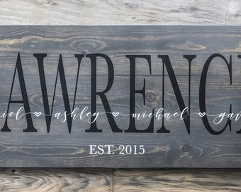 Large Surname Sign with Names and Date