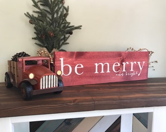 """24""""x7.25"""" Be Merry and Bright red wood Christmas sign"""