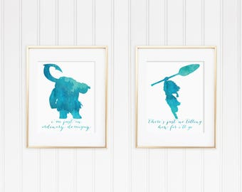 8x10 Moana & Maui Watercolor Disney Quote Print Collection Set of 2