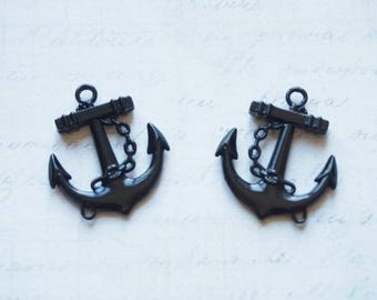 2 anchor 29x26x4mm black enameled metal charms