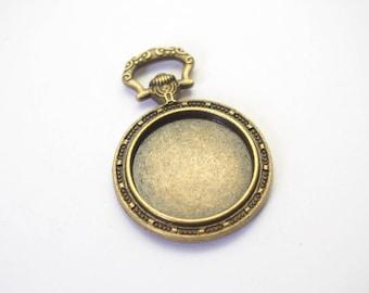 Rabbit from Alice 39x27mm bronze metal engraved Pocket Watch pendant / 20mm
