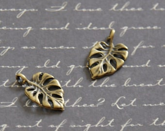 2 Monstera leaf charms