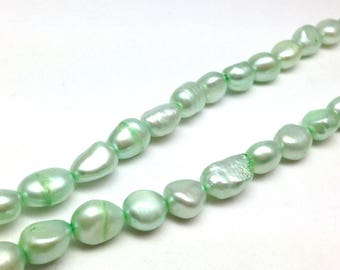 6 freshwater pearls oval green soft 8-10mm