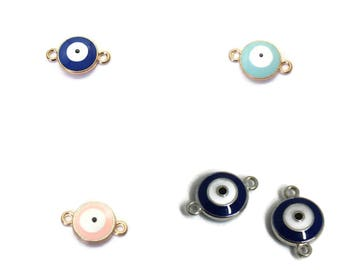 Ceramic and metal 19x12mm Devil Eye connector