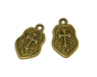 2 charms brass 24x14.5mm Knight's shield