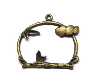 Large cloud shaped charm and bronze 25x26mm plants
