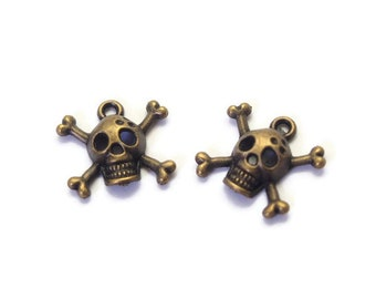 2 charms 17x15mm bronze colored metal skull