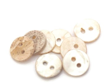 10 buttons round mother of Pearl 10 / 12mm