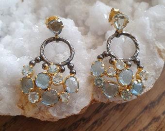 Hammered Hoops with Blue Kyanite Gemstones Sahara 87