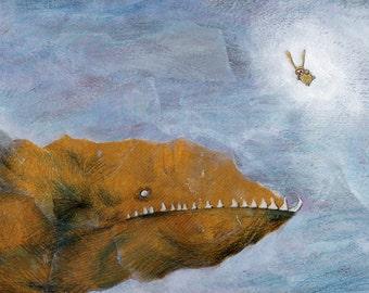 Children illustration, FISH. Childrens room decor, Underwater illustration. Nursery decor, Playroom decor, Kids poster. Signed print, Ciacio