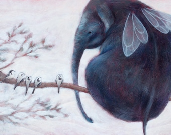 Elephant ILLUSTRATION print, FLYING ELEPHANT. Nursery decor, Elephant art, Children room. Elephant lover gift, fairytale. Baby shower gift