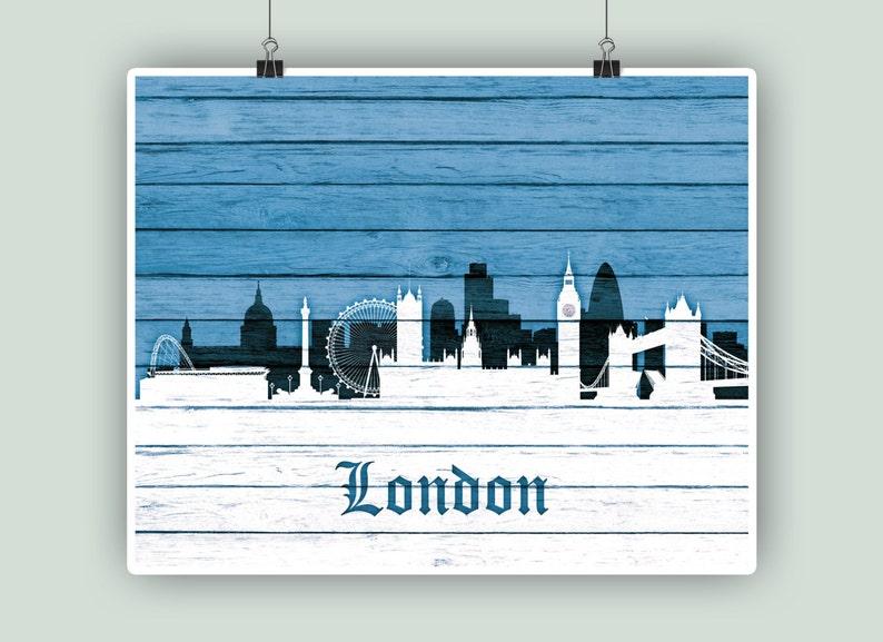 Personalized London Skyline Art Birthday Gift