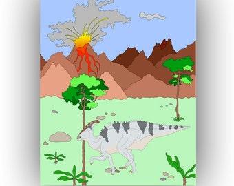 Nursery Art Print, Dino art, Charonosaurus print, Decor kids rooms, Play room decor, Dino habitat volcanic eruption, INSTANT DOWNLOAD 18X24