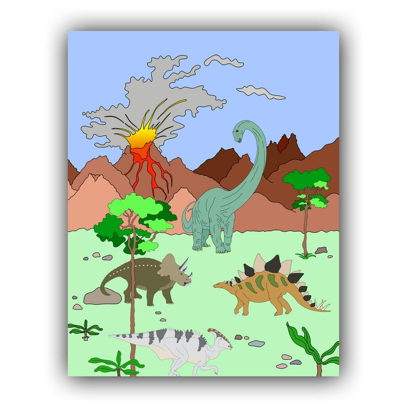 Dino Art Nursery Art Print Dinosaur Art Decor For Kids Etsy
