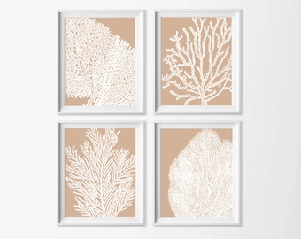 Beige Sand Coral Wall Art Beach Printable Neutral Dining Room Coastal Nursery Cottage Bathroom