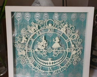 Alice and the White Rabbit- Papercut Template DIY Digital Download