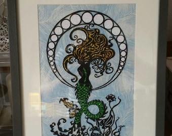 Mermaid Papercut Template DIY Digital Download