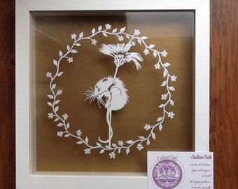 Flower Mouse by CalicoCuts -papercut template DIY digital download