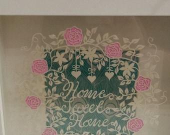 Home Sweet Home Papercut DIY Digital Template download