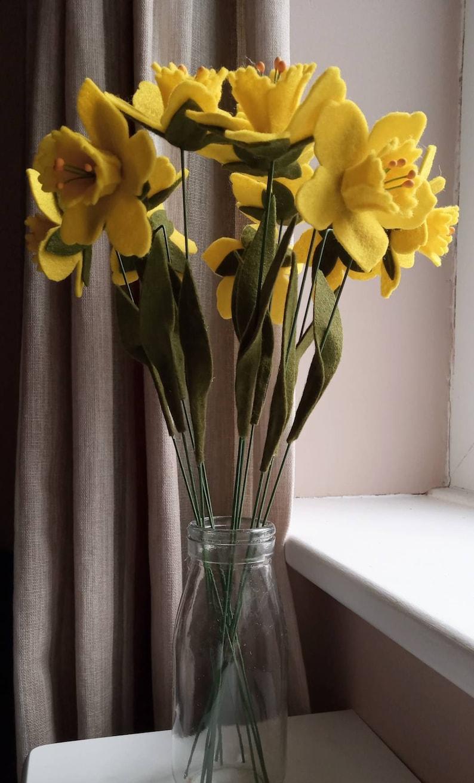 handmade flowers wedding flowers felt flowers bouquet handmade bouquet daffodil Felt daffodil bouquet St Davids day felt