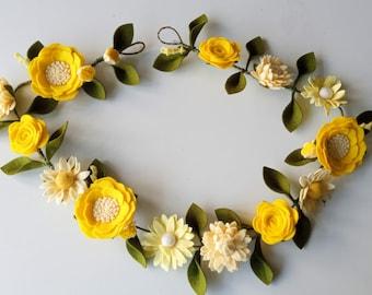 Felt Flower Garland, felt flowers, garland, flower garland, flowers, home decor, handmade, bedroom decoration, decorative garland,decoration