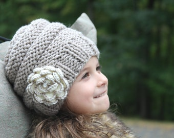 Knit flower hat. Knitted Beanie. Knitted girls hat. Hand knit girls hat. Knitted  hat with flower. Cable knit flower hat. Crochet flower hat. 29c0467fdbc