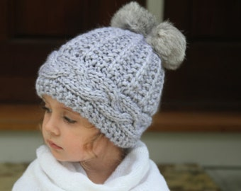 Knitted gray hat. Knitted pom- pom hat. Knit hat with Pom Pom. Hat knit accessory hat. Knitted girl hat. Winter hat.  For age 2-5