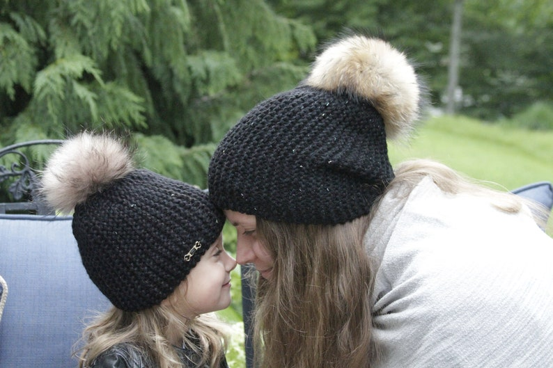 d1a07f443ea6e Mommy and Me Matching knit Hats with natural big fur