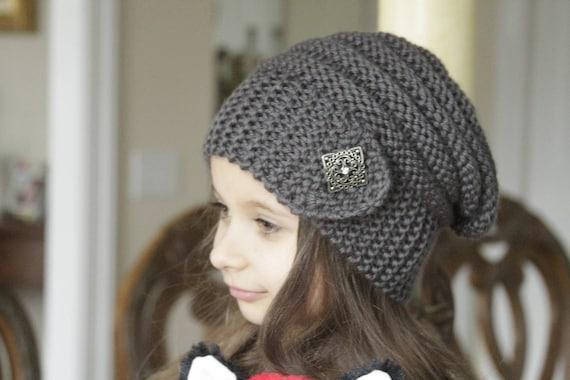 Chapeau tricot gris foncé pour fille et femme ample bambin   Etsy 1ce666ac283