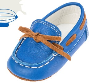 Baby moccasins Crib boy shoes Leather baby shoes Baby boy shoes Unique newborn gift ideas Baby shoes Boy blue shoes 1 2 3 4 US EU 17066075H