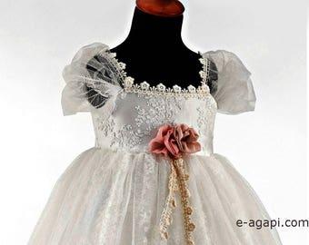 Baby Mädchen Wintermantel weiß griechische Taufe * Hochzeit Baby kalte Jahreszeit * Taufe langen Mantel * Weihnachten Patin Geschenke * Kapuze