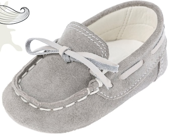 Baby moccasins Crib boy shoes Leather baby shoes Baby boy shoes Unique newborn gift ideas Baby shoes Boy gray shoes 1 2 3 4 US EU 17066075B