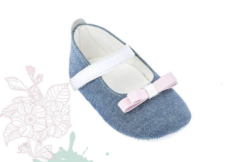 62707d8fb91d7 Crib girl shoes Leather new born shoes Baby girl shoes Unique newborn gift  Baby shoes denim Baby gift infant shoes 1 2 3 4 US EU