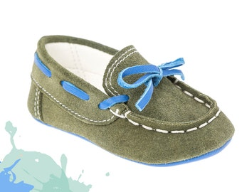 Baby moccasins Crib boy shoes Leather baby shoes Baby boy shoes Unique newborn gift ideas Baby shoes Boy olive shoes 1 2 3 4 US EU