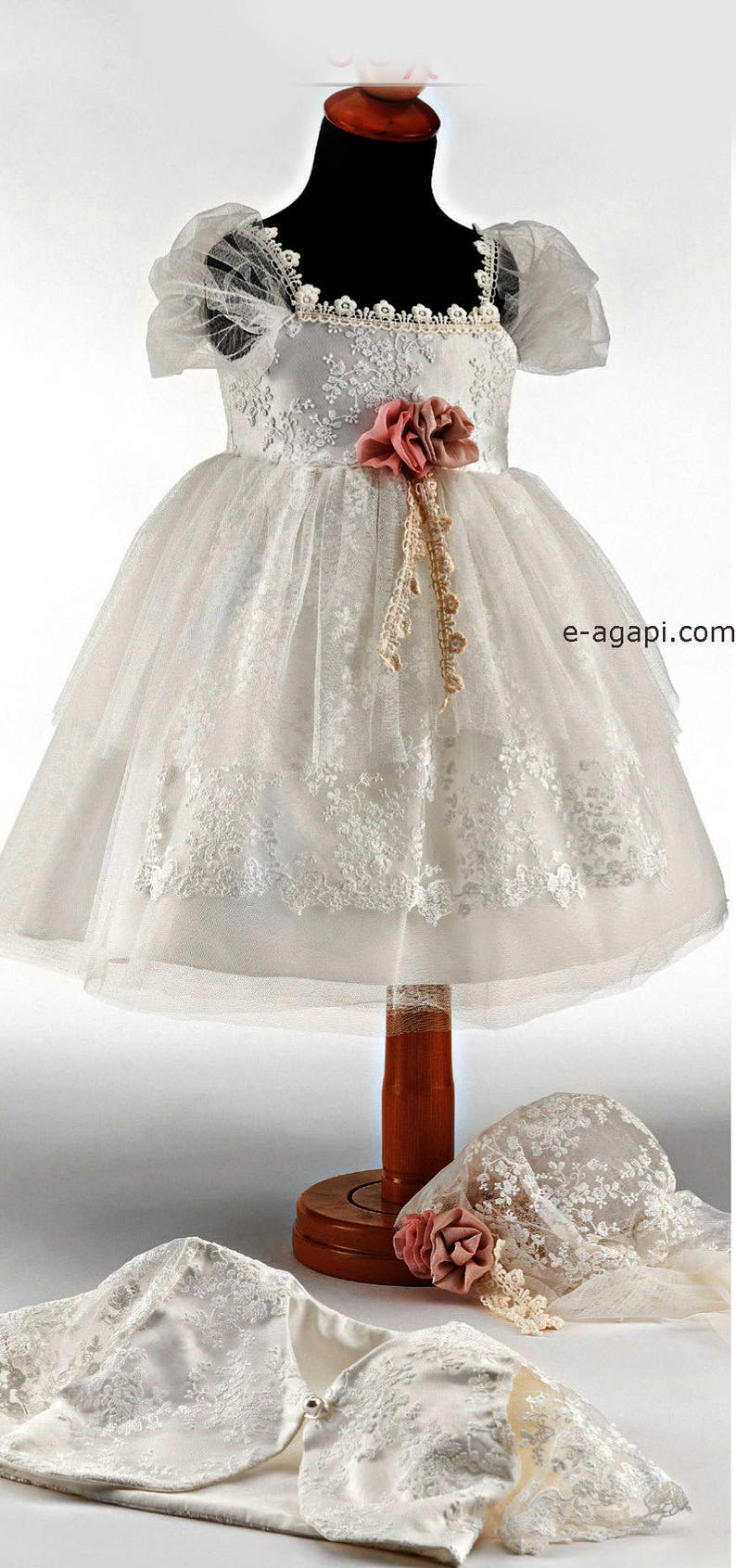 8604e3521865e Baby girl wedding dress outfit Shoes options Lace white flowergirl dress  Greek christening party Wedding baby fashion couture dress