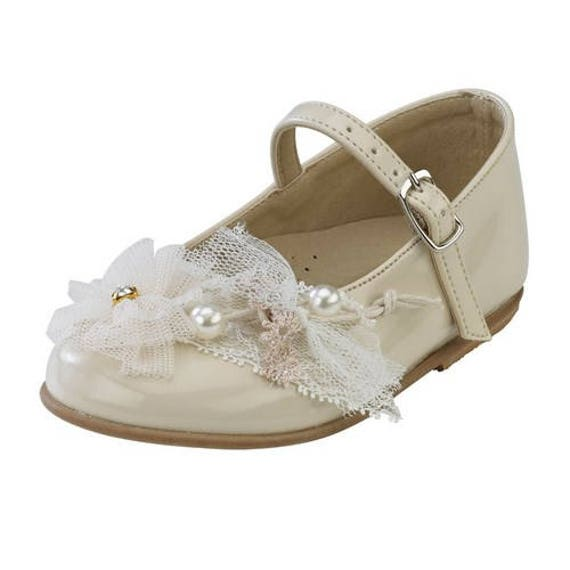 Leather Shoes Baby Girl Shoes Ecru Shoes Elegant Baby Wedding Shoes Lace Strass Baby Baptism Shoes Size 4 5 6 7 8 9 Us Eu