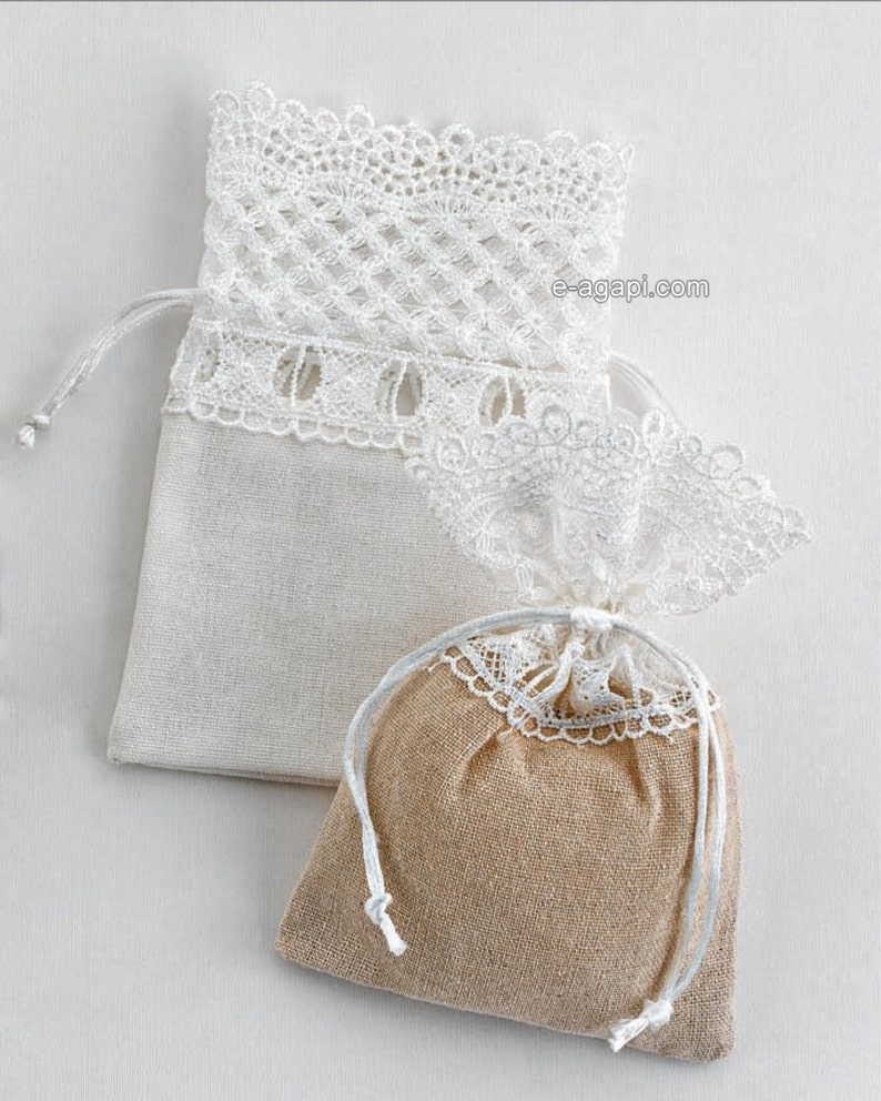 Wedding favors ideas Wedding favors Wedding gifts Greek wedding guests  Rustic wedding lace pouch Unique wedding favors ideas Wedding party