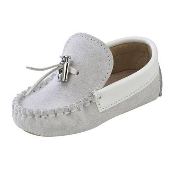 ef4f70a31 Leather baby boy crib shoes boat shoes white ecru blue   Etsy