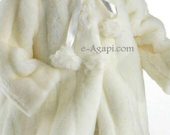 Bambino battesimo greco avorio cappotto bambino matrimonio ragazza stagione fredda elegante cappotto bambino ragazza Natale cappotto lungo pelo corto per l'inverno