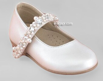 Leather baby girl shoes white cream pink handmade elegant baby wedding shoes baby baptism shoes size 3 4 5 6 7 8 9 10 US EU 16350A1987