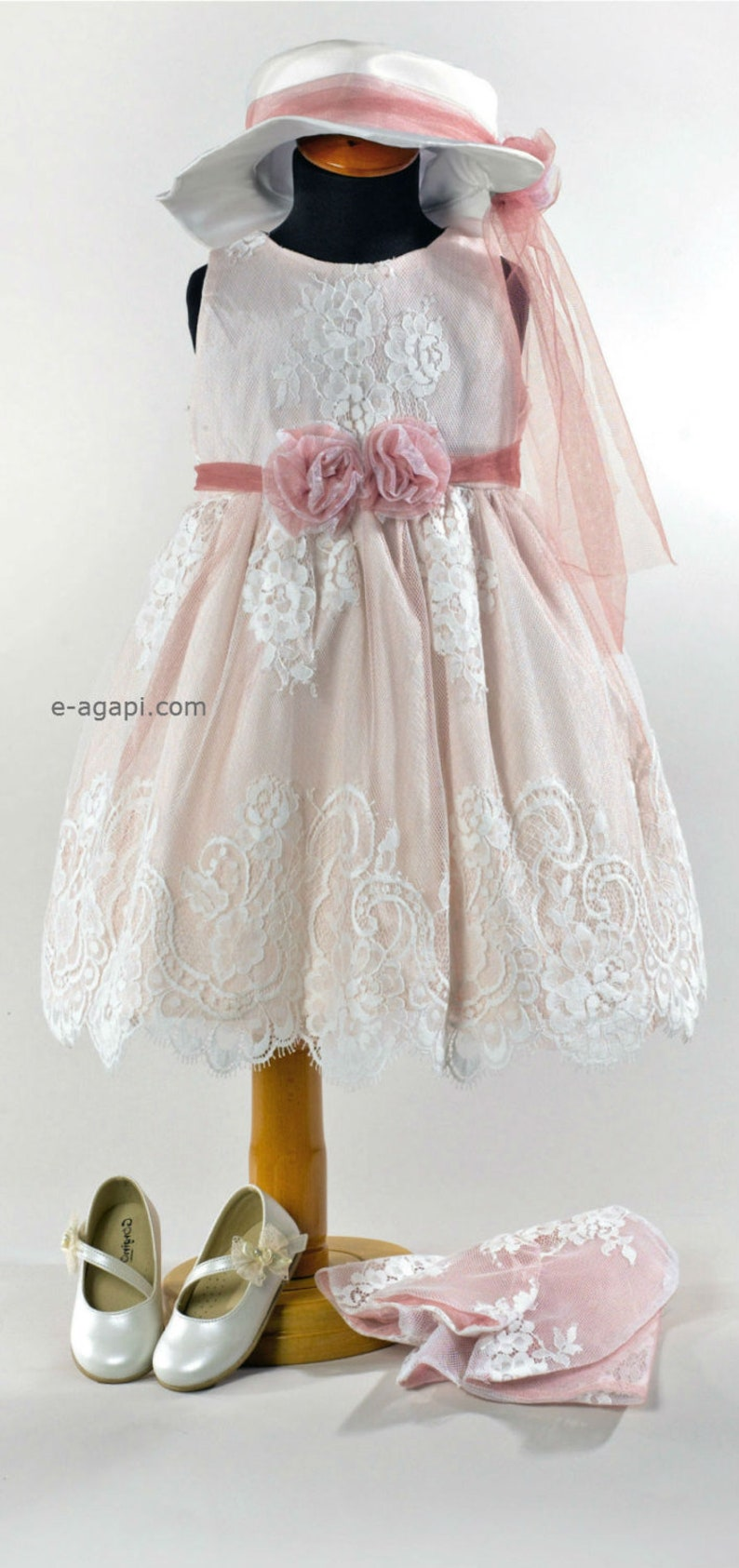 0955109a4bb57 Vintage baby girl baptism dress * Christening outfit * Party lace dress *  Infant dress set * Wedding flower girl dress hat bolero shoes opt