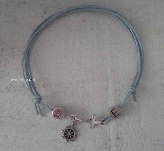 Initialen Armband Anker Taufe 50 200 Marine Thema Griechische Taufe Baby Junge Martyrika Armband Zeuge Taufe Martirika Gäste Zeuge