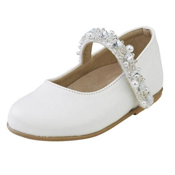 Baby Girls Christening Shoes Size 4 White