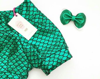 Mermaid-  Birthday Shorts, Mermaid Party, Toddler Mermaid Outfit, Mermaid Party, Handmade, Girls Mermaid Shorts
