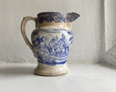 Traditional Antique English Blue and White Milk Jug