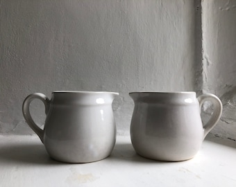 2 Little Antique French White Ironstone Cream Jugs 19thC